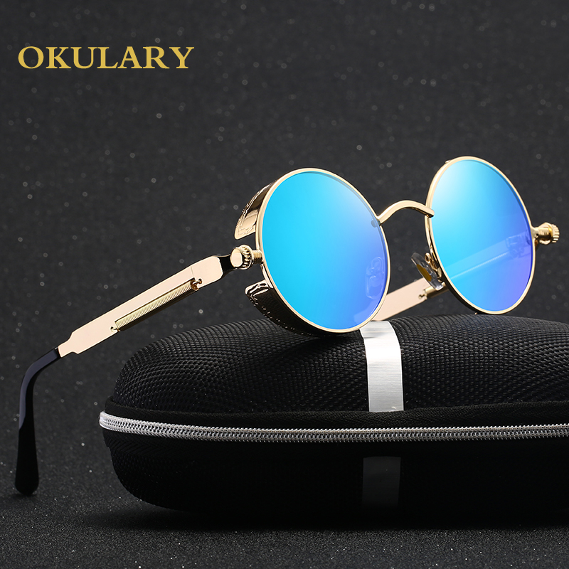 2019 New Round Women Mirror Sunglasses Black/Pink/Blue/Silver Color Stainless Steel UV400 Glasse Frame With Box-in Women's Sunglasses from Apparel Accessories