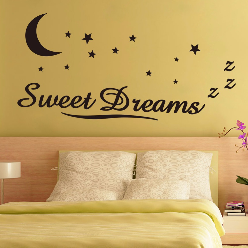 Sweet Dreams Moon Stars Vinyl Wall Decals Art Home Decor Wall ...