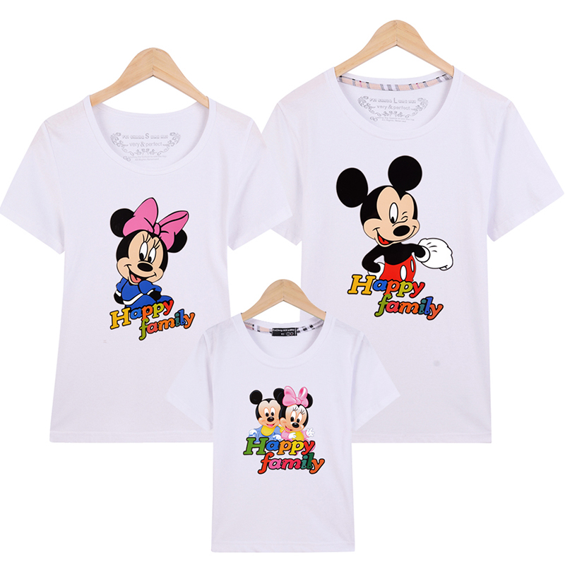 Mickey Summer Matching Family Outfits Family Look T Shirt Minnie Short Sleeve Shirts Mother Father Baby T-shirt Matching Clothes