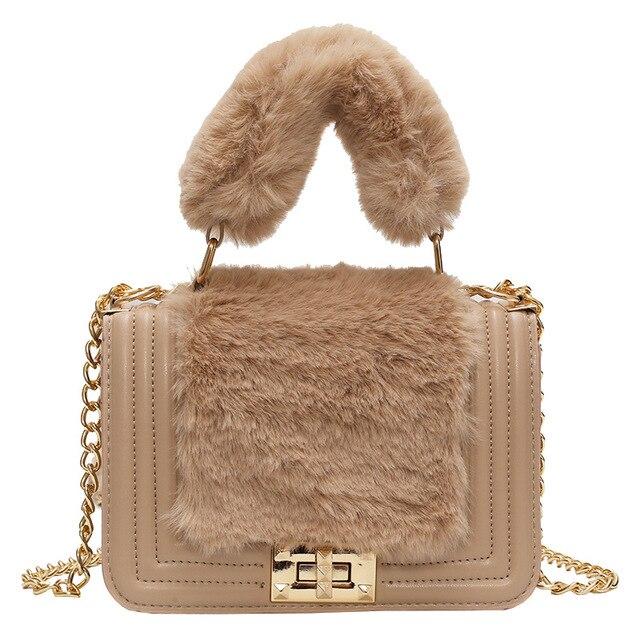 Winter New Ladies Fake Fur Small Tote Bag High Quality Soft Plush Women s  Designer Handbag Lock d38f03d84196d