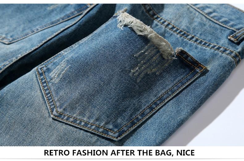 famous brand factory leather zipper jeans men deep blue slim straight pants masculina vaqueros trouse mid regular solid pencil 8
