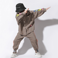 Kids Jazz Dance Costumes Fashion Plaid Shirt Pants Boys Hip Hop Clothing Children Street Stage Show Dancewear Rave Outfit DN3024