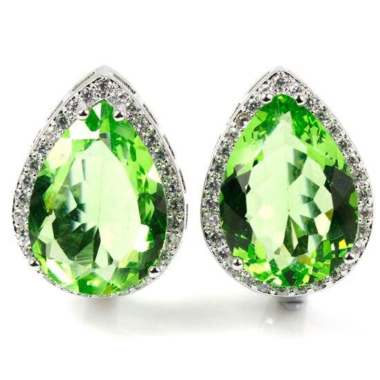 Deluxe Top 18x13mm Drop Green Tsavorite Garnet, White CZ Woman's Wedding 925 Silver Earrings 22x16mm