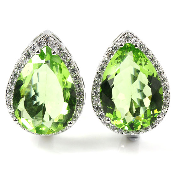 Deluxe Top 18x13mm Drop Green Tsavorite Garnet, White CZ Woman's Wedding 925 Silver Earrings 22x16mm