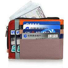 New 2018 Genuine Leather Card Holder Wallet Women Cow Leather Coin Purse  Fashion Female Credit Card Holder Case Wallet недорого