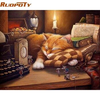 מסגרת RUOPOTY שינה חתול בעלי חיים יד ציור DIY על ידי מספרים תמונה שצוירה על ידי מספרים מתנה טיפת עיצוב הבית חינם