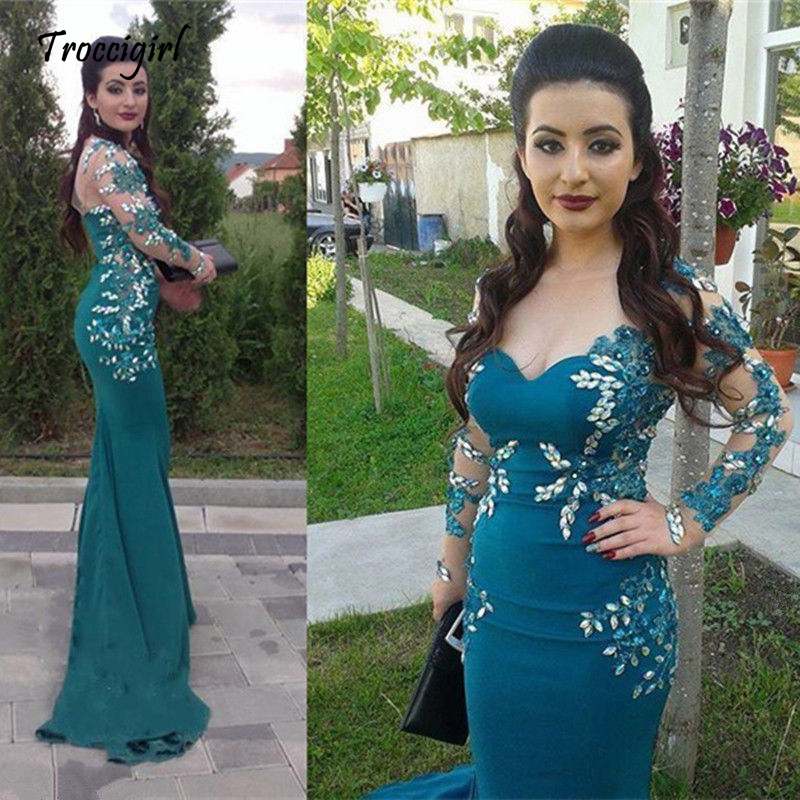 44-1           Elegant Mermaid Formal Evening Dresses Long Sleeve Applique Prom Cocktail Gowns