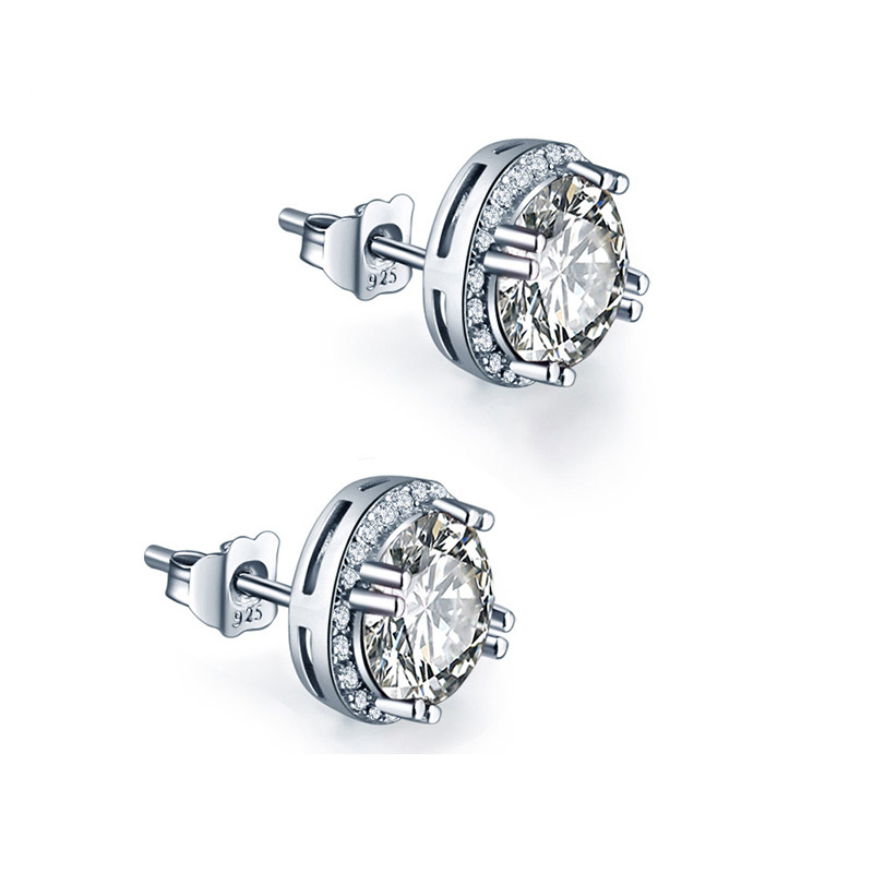 JQUEEN 8 * 8mm 925 sterling silver anting brincos Putaran Cut AAA - Perhiasan bagus
