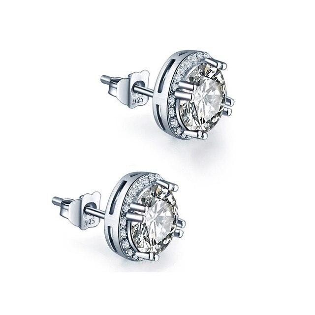 JQUEEN 8*8mm 925 sterling silver earrings brincos Round Cut AAA Cubic Zirconia s