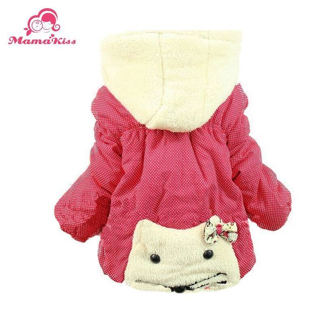 Free Shipping 2014 New Winter Baby Girls Kitty Cat Thick Warm Hooded Kids Outerwear Snowsuit A326