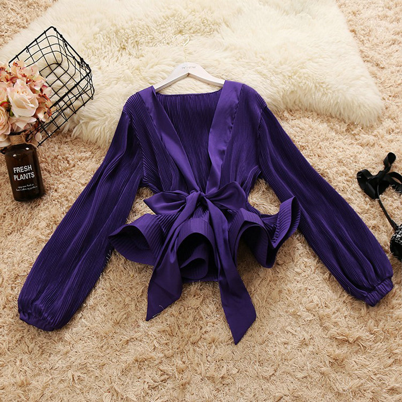 2019 spring new female Deep V collar lantern sleeve lace-up bow ruffles chiffon   shirts   women's elegant vintage   blouse     shirt