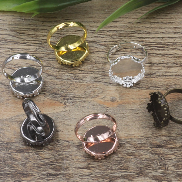 100pcs 15mm Crown Pad ring blank Cameo Tray,Antique Bronze/Gold/Silver Ring setting,Handmade DIY Zakka jewelry Finding