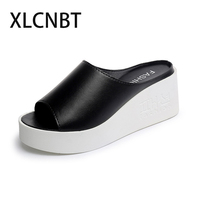 Summer Wedges Slipper Large Base Sponge Fish Mouth High Heeled Shoes Slippers Cool Slippers Increased Sexy