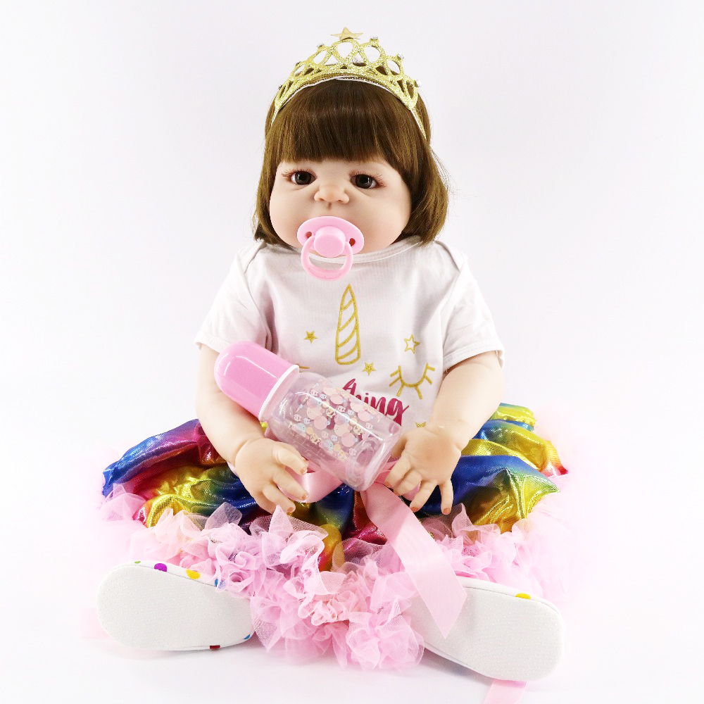 57 cm Simulation nouveau-né poupées 23 ''plein Silicone vinyle bébés Reborn bambin poupées adorable princesse baigner jouets pour enfants