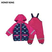 Enfants Filles Coupe-Vent Imperméable Veste Costume + Salopette Enfant Imperméable Réfléchissant Article Chaud Polaire Pour 2-4 T enfants Survêtement