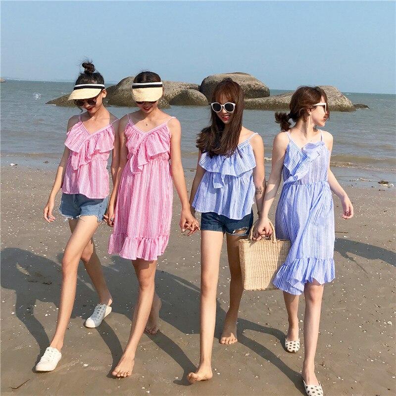 KYMAKUTU Holiday Style Striped Ruffles Sling Dress Mujer 2018 Summer - Ropa de mujer