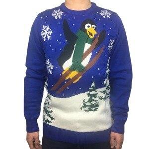 Image 1 - Gestrickte Lustige Skifahren Pinguin Muster Hässliche Weihnachten Pullover für Männer und Frauen Nette Damen Knit Weihnachten Pullover Jumper Übergroßen