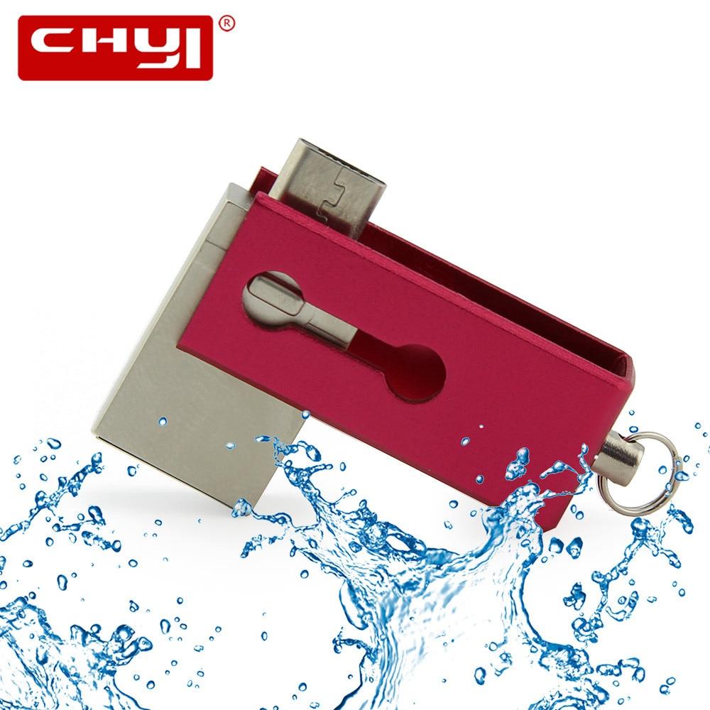 Metal OTG USB Flash Drive 64GB 32GB 16GB 8GB Pen Drive USB Stick Waterproof USB Flash Drive Pendrive for Android Phone Computer