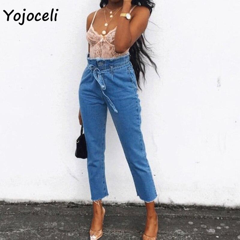 2f0b1f821d6 Yojoceli 2018 на осень-зиму рваные Высокая талия джинсы Штаны Женщины  Уличная Женская trousrs дно лук карандаш джинсы