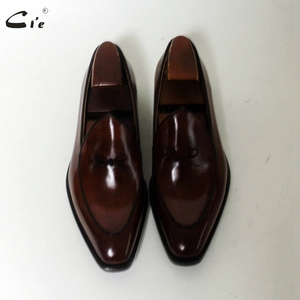 Image 4 - cie square toe bow tie brown boat  shoe hand painted calf leather men shoe handmade can change color breathable mens loafer 171