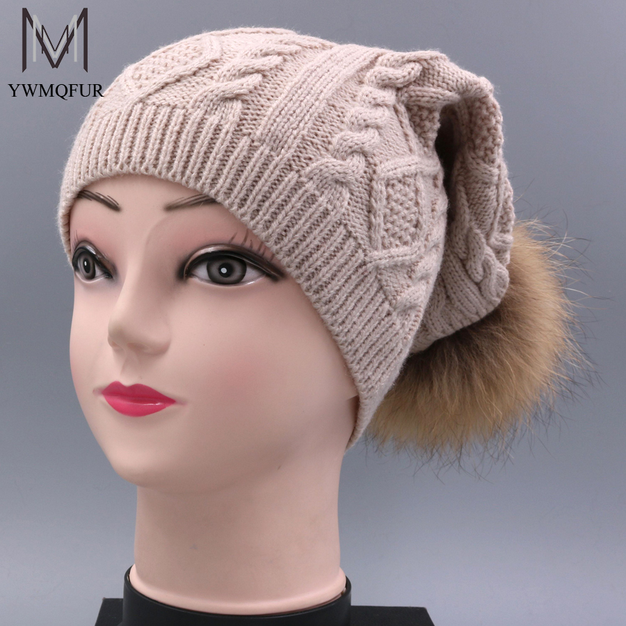 YWMQFUR Winter hat for women knitted wool beanies cap natural raccoon fur pompom hat female casual skullies H74 new natural raccoon fur pompom hat thick winter for women cap beanie hats knitted cashmere wool caps female skullies beanies