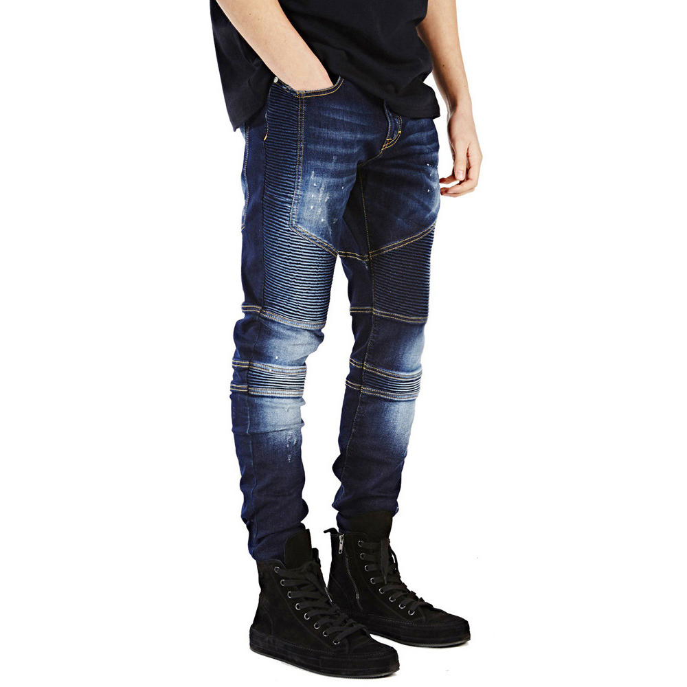 Dombbfy Hop Hop Men Jeans Jogger Locomotive Stripe Slim Jeans Fashion Autumn Swag Biker Denim Pants Medium Washed Pencil Pants