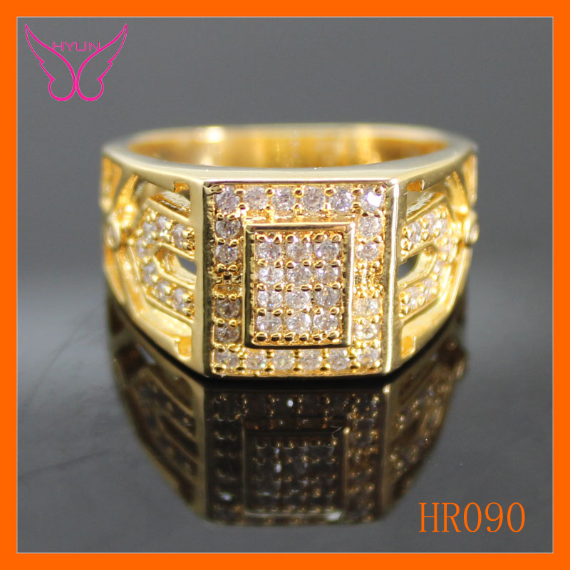 Free shipping HYUN brand men rings classic cz diamond wide rings