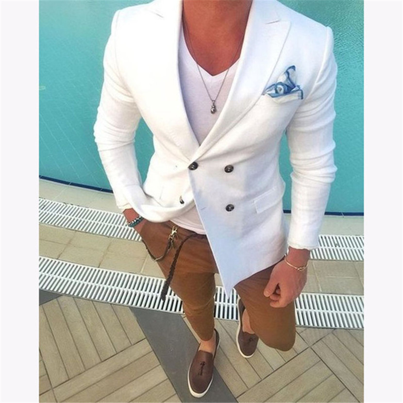 2018 White Double Breasted Men Wedding Suits Blazer Skinny Tuxedo Custom Kingsman Jacket Mens Suit Terno Masculino Jacket+pants