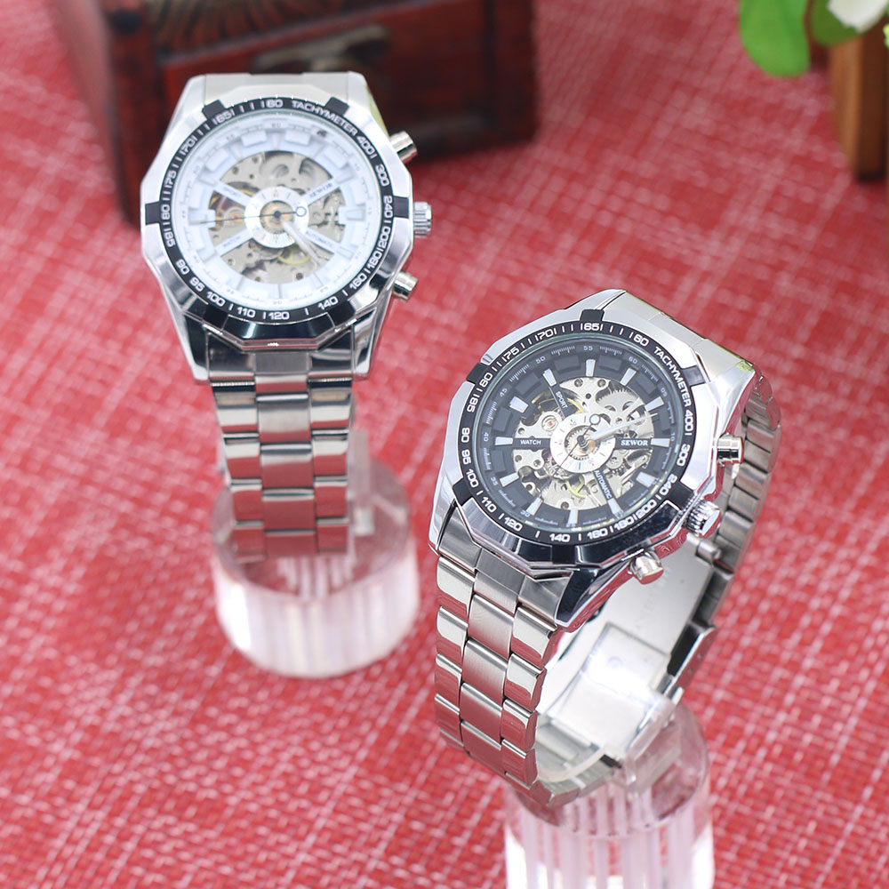 Hot Popular Men s Stainless Mechanical Watch Steel Hand Winding Skeleton Automatic and Sport Wrist Watch