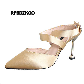 Satin Ankle Strap Pumps Size 4 34 Thin Cross Fashion High Heels Evening Gold Slingback Pointed Toe 2018 Party Women Dress Shoes