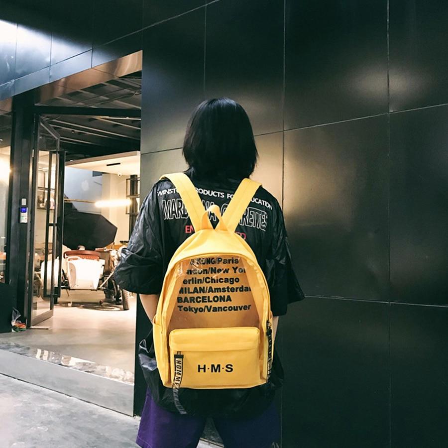 89f1b9f8ed1 2019 Fashion Letter Transparent Women Backpack College Design Canvas School  Bag For Teen Girls Travel Bag Large Bookbag Mochila -in Backpacks from  Luggage ...