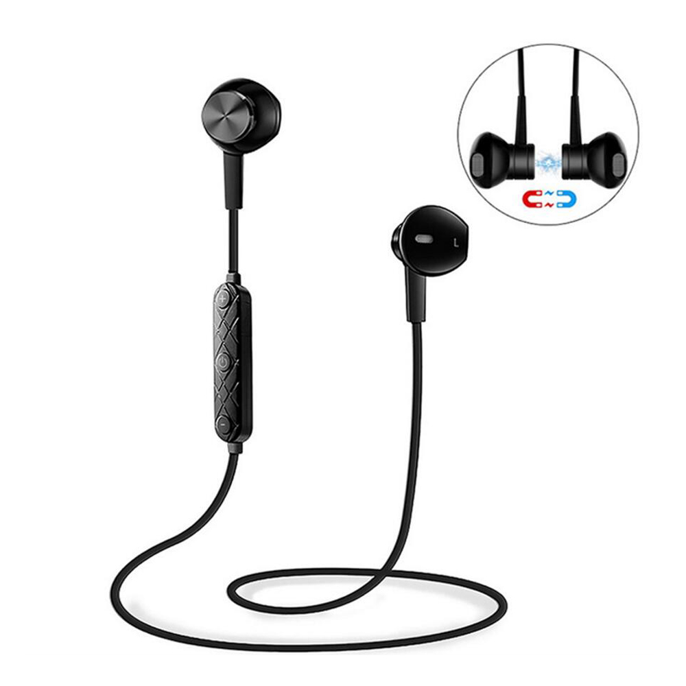 Sports Wireless Bluetooth Earphones V4.1 Stereo  Headset Magnet Noise Reduction Earbuds with Mic for Android IOS for iphone LG dacom carkit bluetooth headset stereo mini wireless earphones handsfree earbuds auriculares bluetooth 4 2 gf7 for iphone android