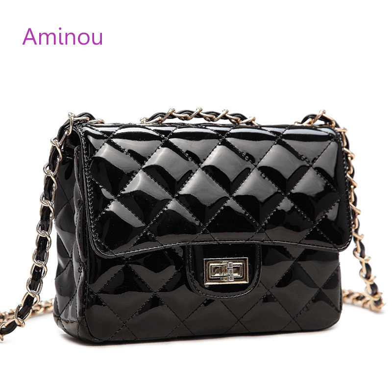 Aminou Women Chain Shoulder Bags Luxury Designer Woman Patent Leather Small Messenger Handbags High Quality Bolsa Feminina luxury handbags women chain messenger bag lipstick lock designer woman black