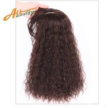 Allaosify Top Stück Verschluss Toupet Lockige Synthetische Haar Hand made Natürliche Schwarz Haar Topper Haarteil Clip In Haar Extensions