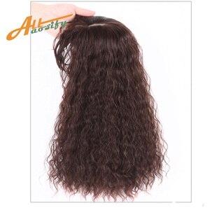 Image 1 - Allaosify parte superior encerramento peruca encaracolado cabelo sintético feito à mão natural preto cabelo topper grampo de cabelo em extensões de cabelo