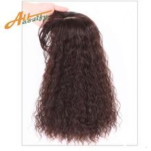 Allaosify накладные пряди из синтетических волос ручной работы, натуральные черные накладные волосы на клипсе