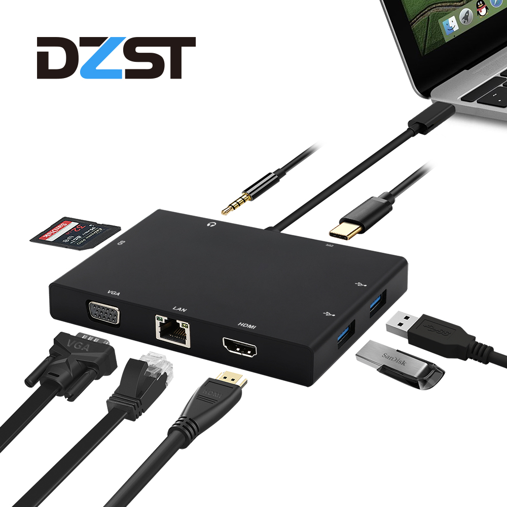DZLST 8-in-1 USB Type C 3.1 HUB to RJ45 HDMI VGA Ethernet USB 3.0 SD Card Reader 3.5mm Audio PD Charge Adapter For Macbook