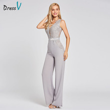 Dressv Vestido largo de noche plateado, barato, con escote en v y cremallera, mono ajustado sin mangas, para fiesta de boda, vestidos de noche
