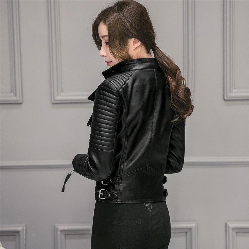FTLZZ Nya våren Höst Kvinnor Faux Mjuka läderjackor Pu Svart - Damkläder - Foto 4