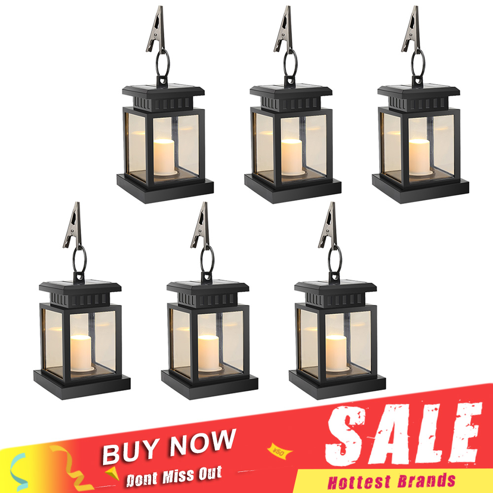 6pcs/lot Solar Power LED Hang Light Outdoor Lantern Candle Effect Night Light for Garden Patio Deck Yard Fence Driveway Lawn vintage led solar lantern lights outdoor hanging light candle lantern solar powered garden lamp for garden lawn patio
