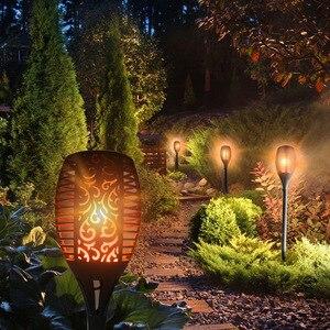 Image 3 - 96 LED s flamme solaire scintillement lampe de jardin torche lumière IP65 projecteurs extérieurs paysage décoration lampe à Led pour les voies de jardin