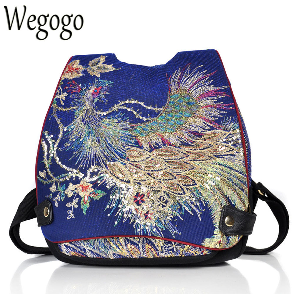 New Vintage Women Backpack Embroidery Peacock Sequin Thai Boho Travel School Shoulder Bag For Woman Rucksack Mochila free shipping vintage hmong tribal ethnic thai indian boho shoulder bag message bag pu leather handmade embroidery tapestry 1018