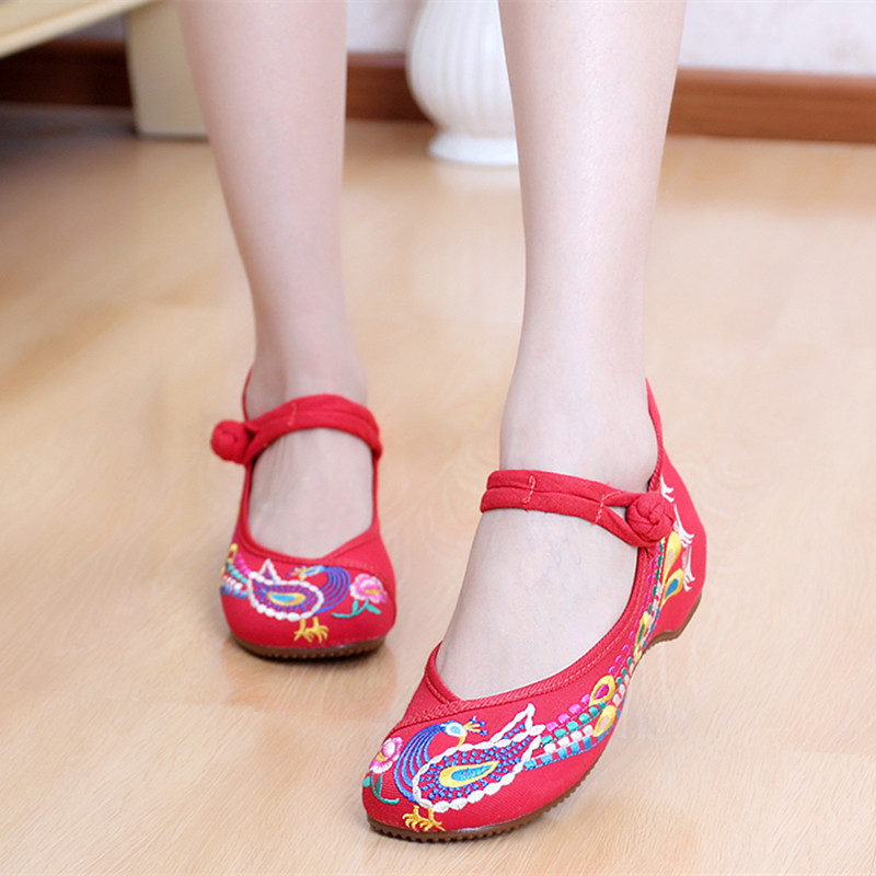 Embroidery Phoenix Old Peking Women Shoes Chinese Retro Womens Flats Ankle Strap Casual Traditional Vintage Flat Maty Janes Shoe
