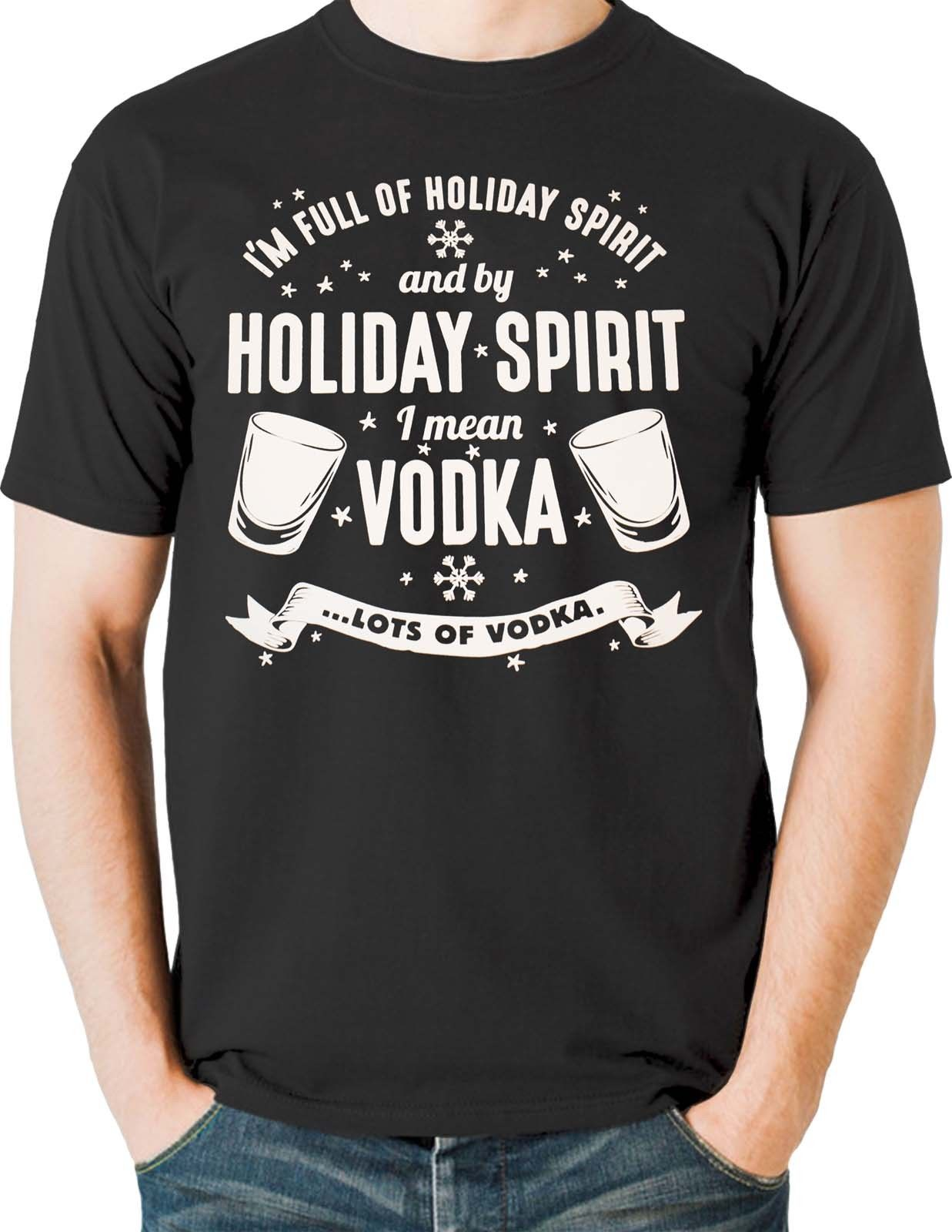 Christmas T Shirt Holiday Spirit Vodka Drinking Games Shots Sizes Small to 6XL