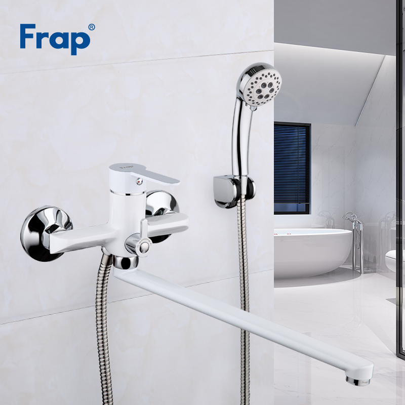 Frap White Bathroom Shower Faucet Set Bathroom Mixer Shower Bathtub Taps Shower Wall torneira Tap Shower
