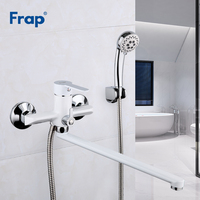 Frap White Bath Shower Faucet Set Bathroom Water Mixer Shower Bathtub Taps Shower Wall torneira Tap Shower Head 35CM nose F2241