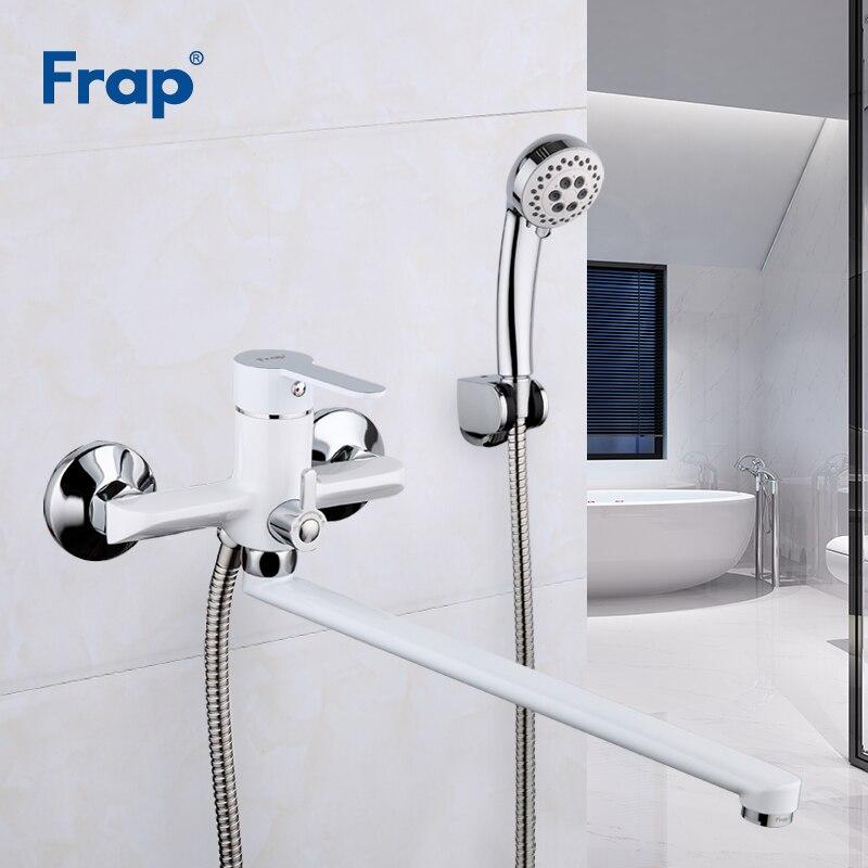 Frap blanc bain douche robinet ensemble salle de bain eau mélangeur douche baignoire robinets mur de douche torneira robinet pomme de douche 35CM nez F2241