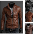 2015 New More Zipper Design Water Wash Men's Collar Fashion Casual Slim Fit Motorcycle PU leather jacket jaqueta de couro