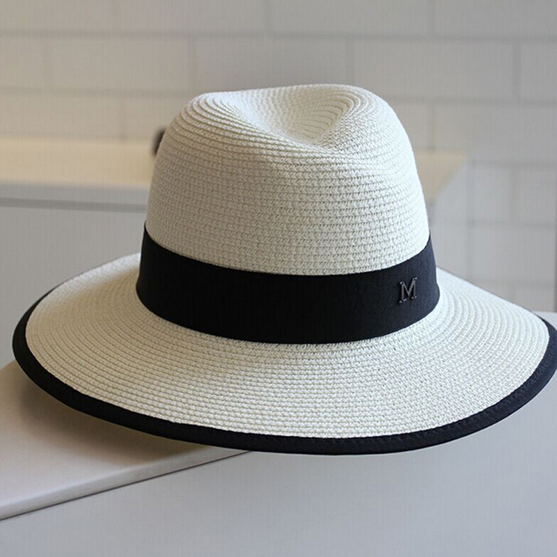 Fashion Women Elegant Black White Jazz Hats Sun Hat Panama ...