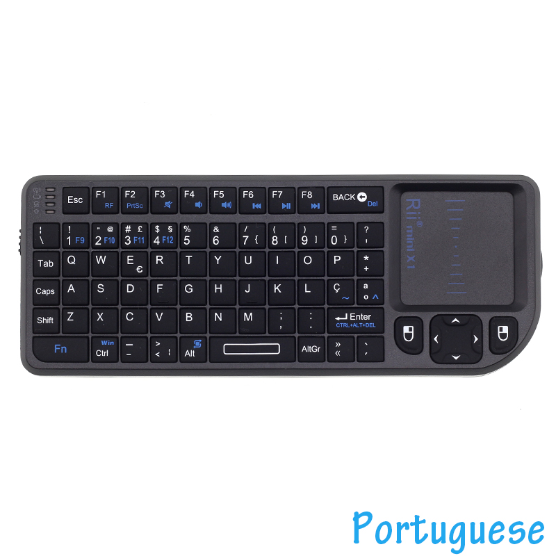 Original Rii Mini X1 Portuguese 2.4GHz Mini Wireless Keyboard Air Mouse With TouchPad For Android TV Box Mini PC Set Top Box